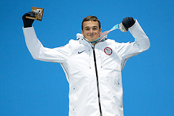 February 18, 2018 - Pyeongchang, South Korea - NICK GOEPPER of the United States celebrates getting the silver medal in the Men's Slopestyle freestyle skiing event in the PyeongChang Olympic Games. (Credit Image: © Christopher Levy via ZUMA Wire)