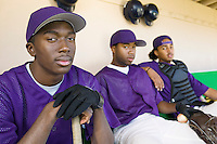 Baseball players sitting in dugout (portrait)