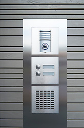 Detail of modern house entry and security camera system