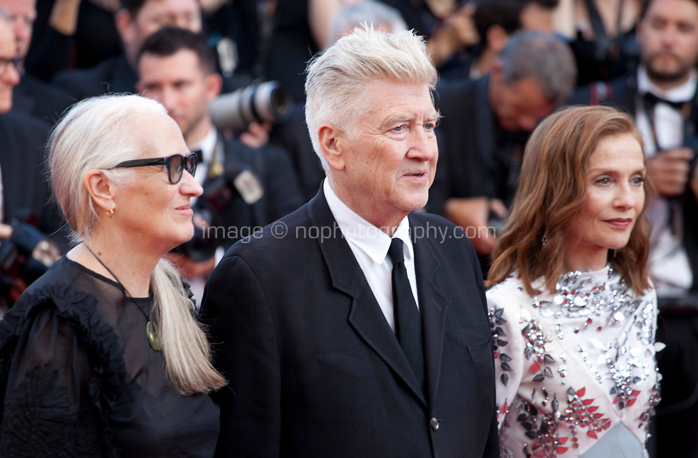 Jane Campion, David Lynch and Isabelle Huppert at the 70th Anniversary Ceremony arrivals at the 70th Cannes Film Festival Tuesday 23rd May 2017, Cannes, France. Photo credit: Doreen Kennedy