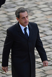 Carla and Nicolas Sarkozy during a National Tribute ceremony for late member of the Academie Francaise Jean d'Ormesson at the Invalides in Paris, France on December 8, 2017 2017.Photo By Christian Liewig/ ABACAPRESS.COM