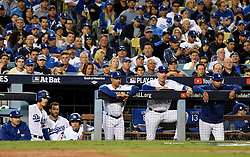 November 1, 2017 - Los Angeles, California, U.S. - Los Angeles Dodgers manager Dave Roberts (30) and the bench look on in the 5th inning of game seven of a World Series baseball game at Dodger Stadium on Wednesday Nov. 1, 2017 in Los Angeles. (Photo by Keith Birmingham, Pasadena Star-News/SCNG) (Credit Image: © San Gabriel Valley Tribune via ZUMA Wire)