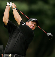 Phil Mickelson of the US tees off on his way to winning  the 2005 PGA Championship at Baltusrol Golf Club in Springfield, New Jersey, Monday 15 August 2005. Mickelson clinched his second major title with a one-shot victory on Monday.