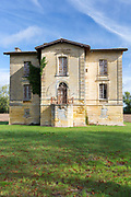 Empty abandoned ancient French chateau, Villa Cecile Jean in Bordeaux area of France