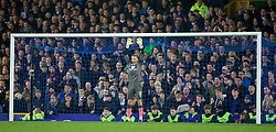 LIVERPOOL, ENGLAND - Tuesday, October 27, 2015: Norwich City's Declan Rudd prepares to face Everton's second penalty of the shoot-out during the Football League Cup 4th Round match at Goodison Park. (Pic by David Rawcliffe/Propaganda)