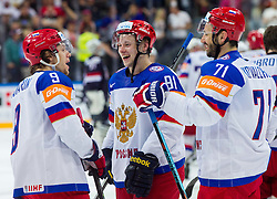 Artemi Panarin of Russia, Vladimir Tarasenko of Russia and Ilya Kovalchuk of Russia celebrate after winning during Ice Hockey match between USA and Russia at Semifinals of 2015 IIHF World Championship, on May 16, 2015 in O2 Arena, Prague, Czech Republic. Photo by Vid Ponikvar / Sportida