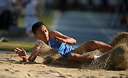 Apr 14, 2018; Los Angeles, CA, USA; C.J. Alumbres of UCLA places third in the triple jump at 50-7 1/4 (15.42) during the Rafer Johnson/Jackie joyner-Kersee Invitational at Drake Stadium.
