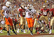 Miami running back Javarris James (5) scores a second quarter touchdown to put Miami in the lead as the University of Miami plays Florida State University at Bobby Bowden Field at Doak Campbell Stadium on the campus of Florida State University in Tallahassee, Florida on September 7, 2009.