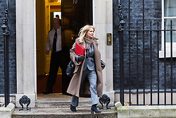 London - Secretary of State for Work and Pensions Esther McVey leaves the weekly meeting of the UK cabinet at Downing Street. January 23 2018.