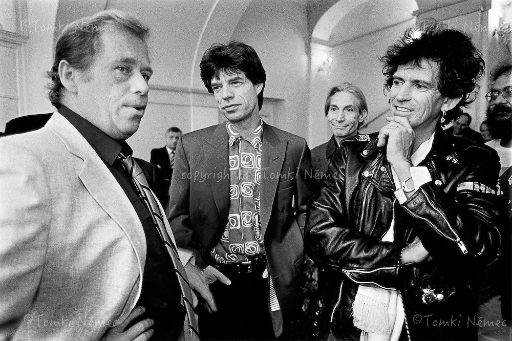Prague, 18 August 1990 - Prague Castle.Vaclav Havel receives members of the Rolling Stones on the day of their now legendary appearance at Strahov Stadium, which was the first concert by these international stars in Czechoslovakia after the collapse of the Communist regime.