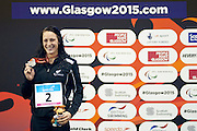 Sophie Pascoe of New Zealand with silver in Women's 100m Backstroke S10. 2015 IPC Swimming World Championships - Tollcross Swimming Centre, Glasgow, Scotland. Photo credit: Luc Percival Photography.