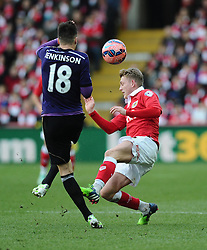 Bristol City's George Saville battles for the ball with West Ham's Carl Jenkinson  - Photo mandatory by-line: Joe Meredith/JMP - Mobile: 07966 386802 - 25/01/2015 - SPORT - Football - Bristol - Ashton Gate - Bristol City v West Ham United - FA Cup Fourth Round