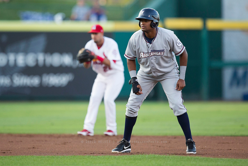 Jorge Bonifacio (16) of the Northwest Arkansas Naturals takes his lead off of second base during a game against the Springfield Cardinals at Hammons Field on August 20, 2013 in Springfield, Missouri. (David Welker)