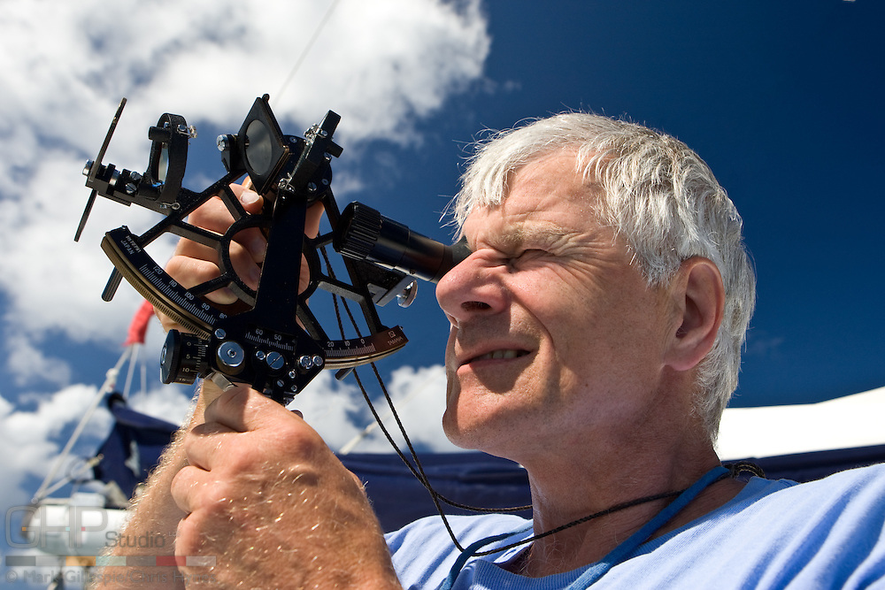 Taking a noon sight with a sextant