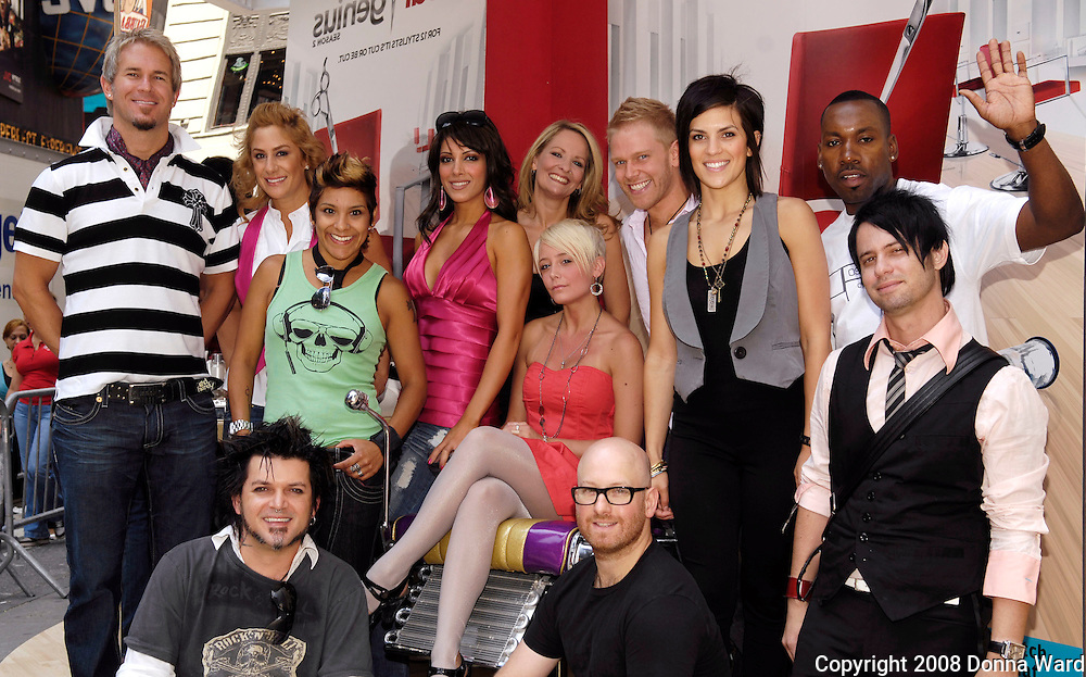 Season 2 Castmembers pose at the Bravo 'Shear Genius' Times Square Salon on the Military Island in Times Square in New York City, USA on June 24, 2008.