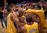 27 May 2010: Lamar Odom and the Los Angeles Lakers celebrate after Ron Artest hits the game winning shot to defeat the Phoenix Suns 103-101 in Game 5 of the NBA Western Conference Finals at the STAPLES Center in Los Angeles, CA.