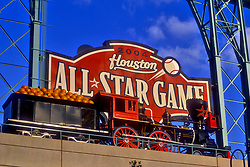Stock photo of the train on the top of Minute Maid Park