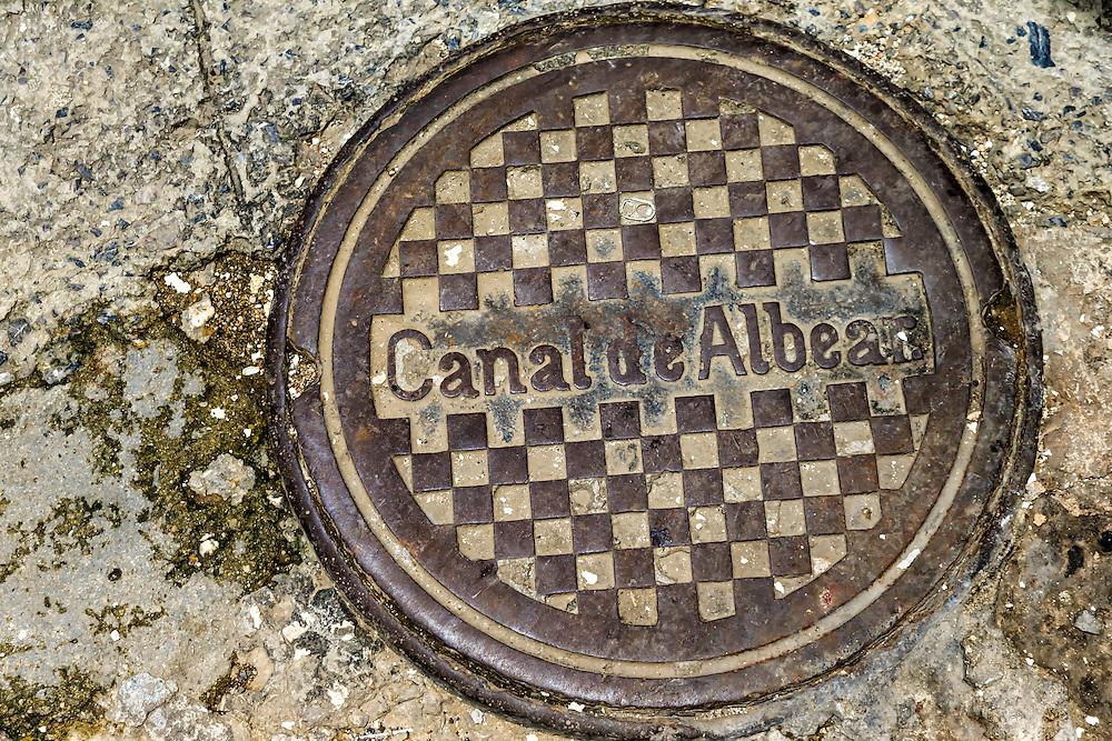 Canal de Albear manhole cover in Havana Centro, Cuba.