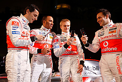 STUTTGART, GERMANY - Monday, January 7, 2008: Drivers Lewis Hamilton and Heikki Kovalainen and test drivers Gary Paffett (L) and Pedro de la Rosa (R) at the launch of the Vodafone McLaren Mercedes MP4-23 Formula One car for the 2008 season at the Mecedez-Benz museum in Stuttgart. (Photo by Michael Kunkel/Hochzwei/Propaganda)
