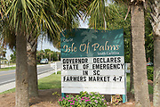 A sign in the beach community of Isle of Palms warning residents and visitors of the State of Emergency in preparations for Hurricane Irma September 7, 2017 in Isle of Palms, South Carolina. Imra is packing winds of 185-mph making it the strongest hurricane ever recorded in the Atlantic Ocean and has already caused devastation in the Caribbean.