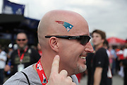 A New England Patriots fan sports a team logo on his bald head before the New England Patriots Super Bowl LI football game against the Atlanta Falcons on Sunday, Feb. 5, 2017 in Houston. The Patriots won the game 34-28 in overtime. (©Paul Anthony Spinelli)