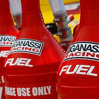 June 16, 2018 - Newton, Iowa, USA: Fuel cans for John Hunter Nemechek (42) sits in the garage before practice for the Iowa 250 at Iowa Speedway in Newton, Iowa.