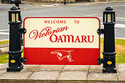 Welcome sign, Oamaru, Otago, South Island, New Zealand