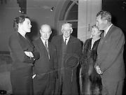 16/11/1959<br /> 11/16/1959<br /> 16 November 1959<br /> Siobhan McKenna at Damer Hall, Dublin. Picture shows (l-r): Siobhan McKenna; Author Pronsias MacDearmada: An t-Ollamh Liam O'Brien; Maire Bhreathnach caomhnoir Gael - Linn and Denis O'Dea.