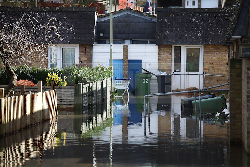 © Licensed to London News Pictures. 22/02/2014. Basingstoke, Hampshire. Flood water surrounding properties on Grampian Way, in the Buckskin area of Basingstoke, Hampshire. Groundwater levels are continuing to rise in the area, forcing 69 homes to be evacuated in the Buckskin Area of the commuter town. Photo credit : Rob Arnold/LNP