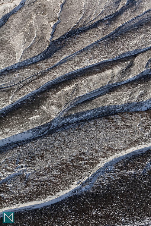 Ridges in the landscape in the Icelandic highland