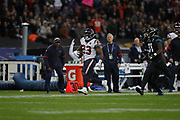 Houston Texans Running Back Carlos Hyde (23)  running down the sideline for a texans first down during the International Series match between Jacksonville Jaguars and Houston Texans at Wembley Stadium, London, England on 3 November 2019.