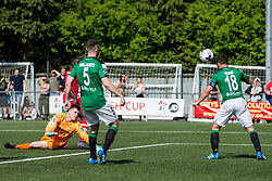 NEWTOWN, WALES - Sunday, May 6, 2018: Captain Ashley Young of Aberystwyth Town clears the goal bound shot by Michael Steele of Connahs Quay Nomads during the FAW Welsh Cup Final between Aberystwyth Town and Connahs Quay Nomads at Latham Park. (Pic by Paul Greenwood/Propaganda)
