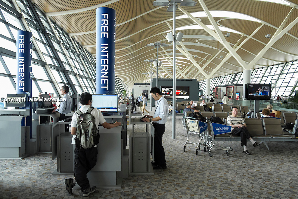 Interior of Terminal 2 with free internet facility at Pudong International Airport in Shanghai China