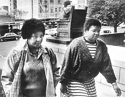 File photo: 2/09/1991 Winnie Madikizela-Mandela arriving at the Johannesburg magistrate court for brief court appearance of obstructing traffic and resisting arrest during a protest march 22 May. Winnie and more than 200 ANC Women's League members were arrested after marching to John Vorster Squeare to show solidarity with jailed hunger strikers. Her case was postponed to October 29<br /> Picture: Joao Silva/African News Agency(ANA) Archives