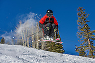 Joey Jenkins catches air on the Back of Bell #1 on Aspen Mountain.