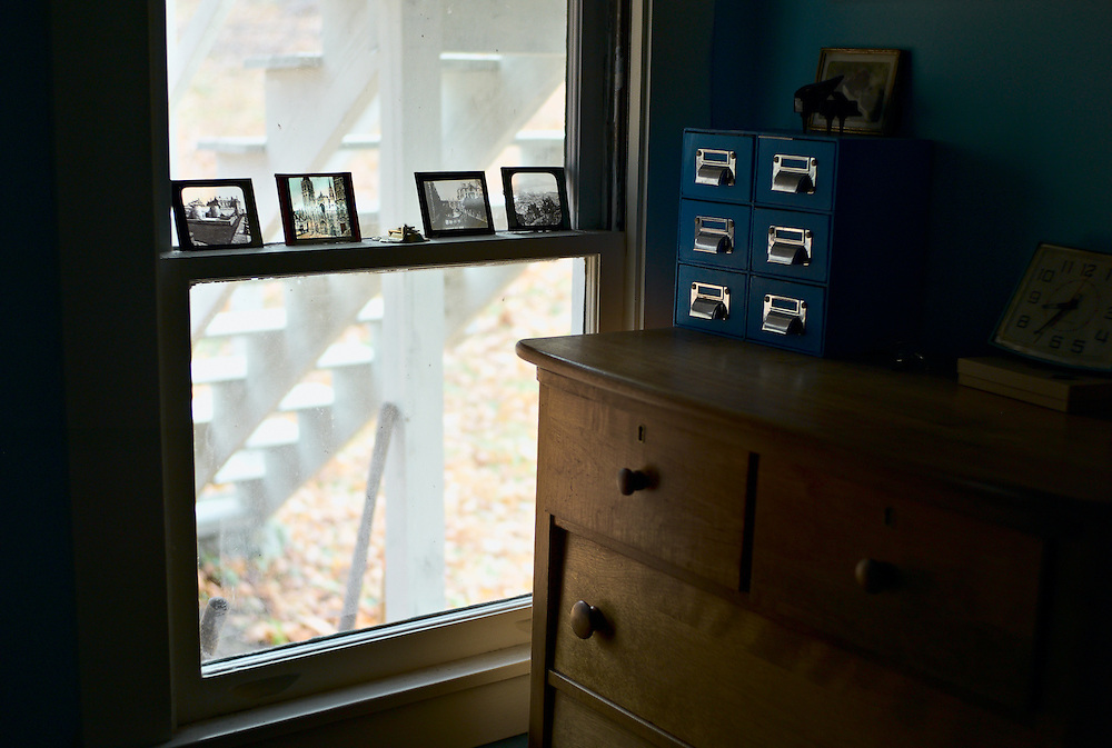 Window, lantern slides and chest of drawers