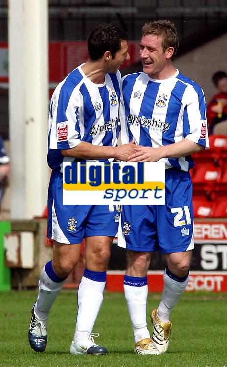 Photo: Dave Linney.<br />Walsall v Huddersfield Town. Coca Cola League 1. 22/04/2006.Huddersfield goalscorerDavid Graham(R) celebrates with Martin McIntosh after making it 1-0