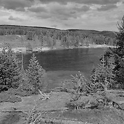 Yellowstone River View And Storm Clouds- Yellowstone National Park - Black & White
