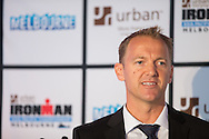 Geoff Meyer CEO IRONMAN Asia-Pacific. Ironman Melbourne Triathlon Press Launch 2013. Etihad Stadium, Melbourne, Victoria, Australia. 25/02/2013. Photo By Lucas Wroe