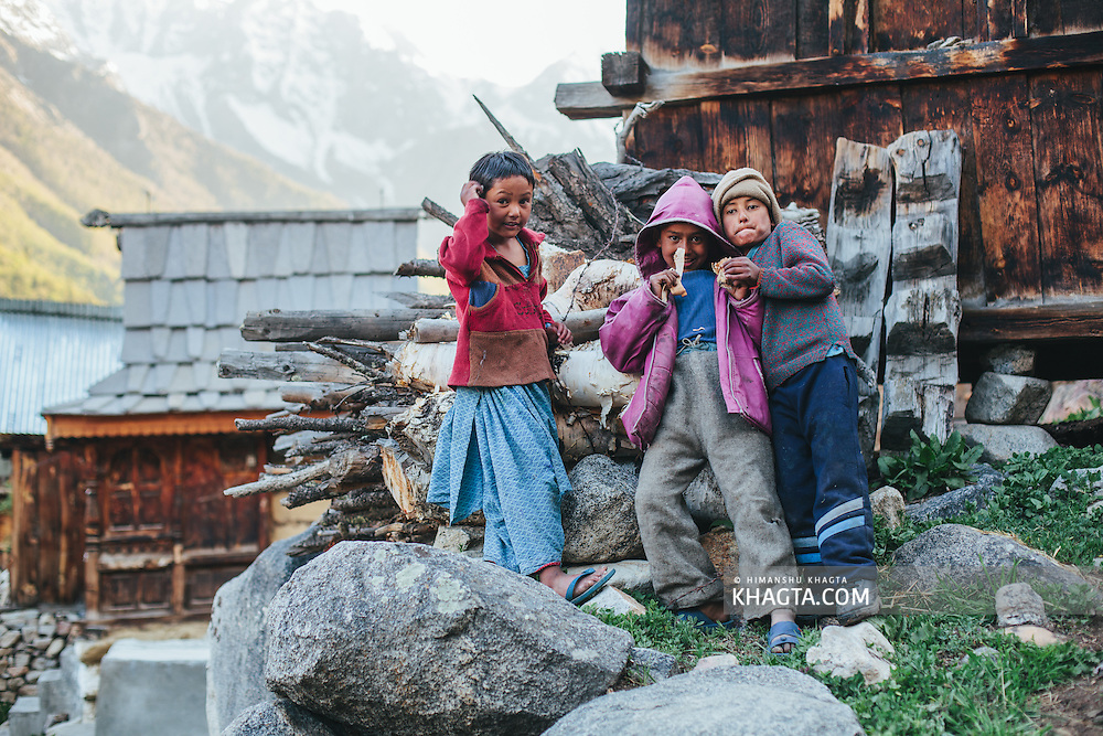 Kinnaur kids posing for the camera in Chikul village of Kinnaur