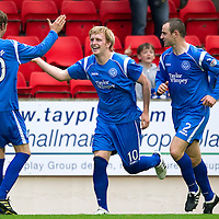 St Johnstone v Hibs...02.10.10  <br /> Liam Craig celebrates his goal with Dave Mackay and Murray Davidson<br /> Picture by Graeme Hart.<br /> Copyright Perthshire Picture Agency<br /> Tel: 01738 623350  Mobile: 07990 594431