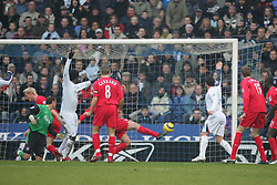 BOLTON, ENGLAND - MONDAY, JANUARY 2nd, 2006: Bolton Wanderers' Radhi Jadi scores the opening goal against Liverpool during the Premiership match at the Reebok Stadium. (Pic by David Rawcliffe/Propaganda)