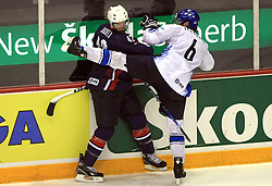 David Backes (42) of USA and Ossi Vaananen  at ice-hockey match Finland vs USA at Qualifying round Group F of IIHF WC 2008 in Halifax, on May 11, 2008 in Metro Center, Halifax, Nova Scotia, Canada. (Photo by Vid Ponikvar / Sportal Images)
