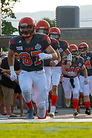 KELOWNA, BC - AUGUST 3:  Kaden Wagner #87 of Okanagan Sun runs onto the field at the start of the home opener against the Kamloops Broncos at the Apple Bowl on August 3, 2019 in Kelowna, Canada. (Photo by Marissa Baecker/Shoot the Breeze)