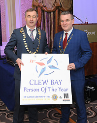 Darren Cawley and Cllr Brendan Mulroy at the Westport Lions club Clew Bay People of the Year Awards.<br /> Pic Conor McKeown