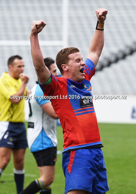 Suburbs captain Carl Perry celebrates.<br /> Grammar TEC v Suburbs, Auckland Premier Club Rugby. Gallaher Shield Final. Eden Park, Auckland, New Zealand. Saturday 30 July 2016. &copy; Copyright Photo: Andrew Cornaga / www.Photosport.nz