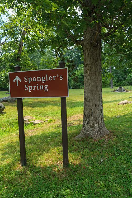 Gettysburg, PA, USA - June 30, 2013: Spangler's Spring is southeast of Gettysburg and soldiers from both sides filled their canteens there during the battle.