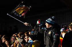 An Exeter Chiefs fan in the crowd waves a flag in support - Mandatory byline: Patrick Khachfe/JMP - 07966 386802 - 29/02/2020 - RUGBY UNION - The Twickenham Stoop - London, England - Harlequins v Exeter Chiefs - Gallagher Premiership