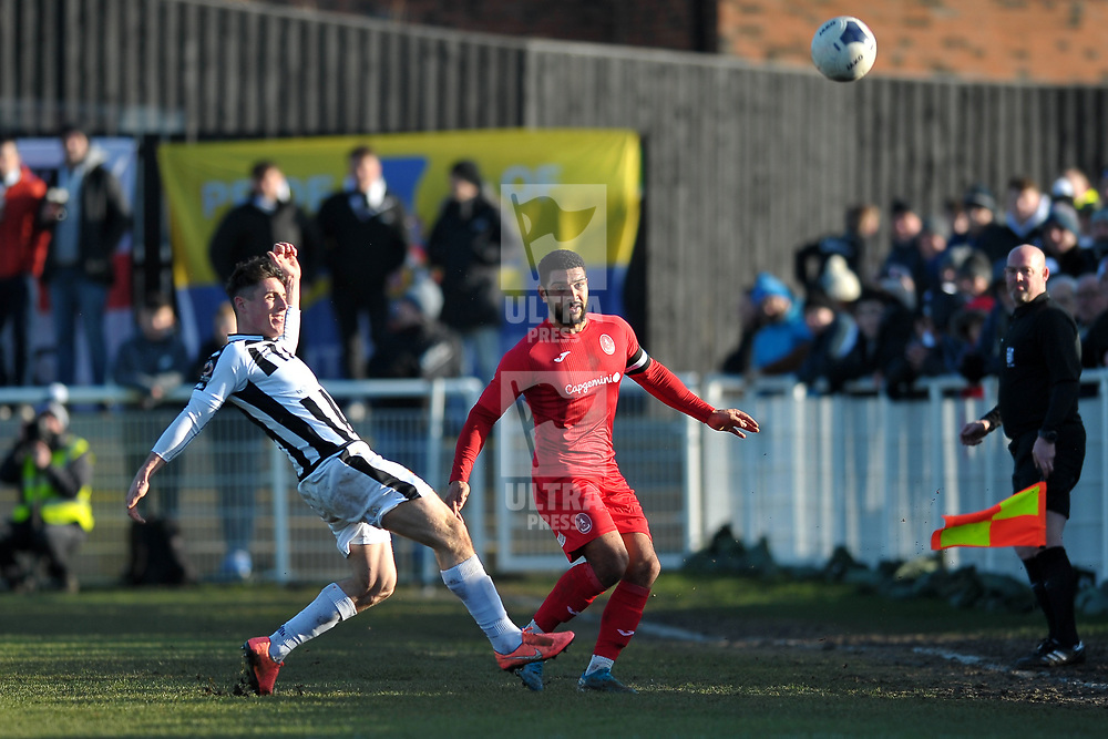 TELFORD COPYRIGHT MIKE SHERIDAN Ellis Deeney of Telford clears  during the Vanarama Conference North fixture between Spennymoor Town and AFC Telford United at Brewery Field, Spennymoor on Saturday, February 29, 2020.<br /> <br /> Picture credit: Mike Sheridan/Ultrapress<br /> <br /> MS201920-048