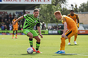 Forest Green Rovers Dayle Grubb(8) takes on Newport County's Ryan Haynes(3) during the EFL Sky Bet League 2 match between Forest Green Rovers and Newport County at the New Lawn, Forest Green, United Kingdom on 31 August 2019.
